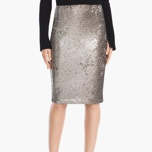 NWT White House Black Market silver sequin skirt